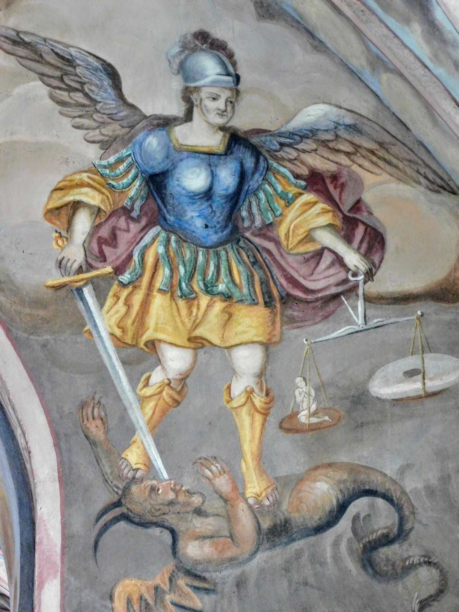 św. Michał Arczowym po konserwacjichanioł  - fresk na łuku tę