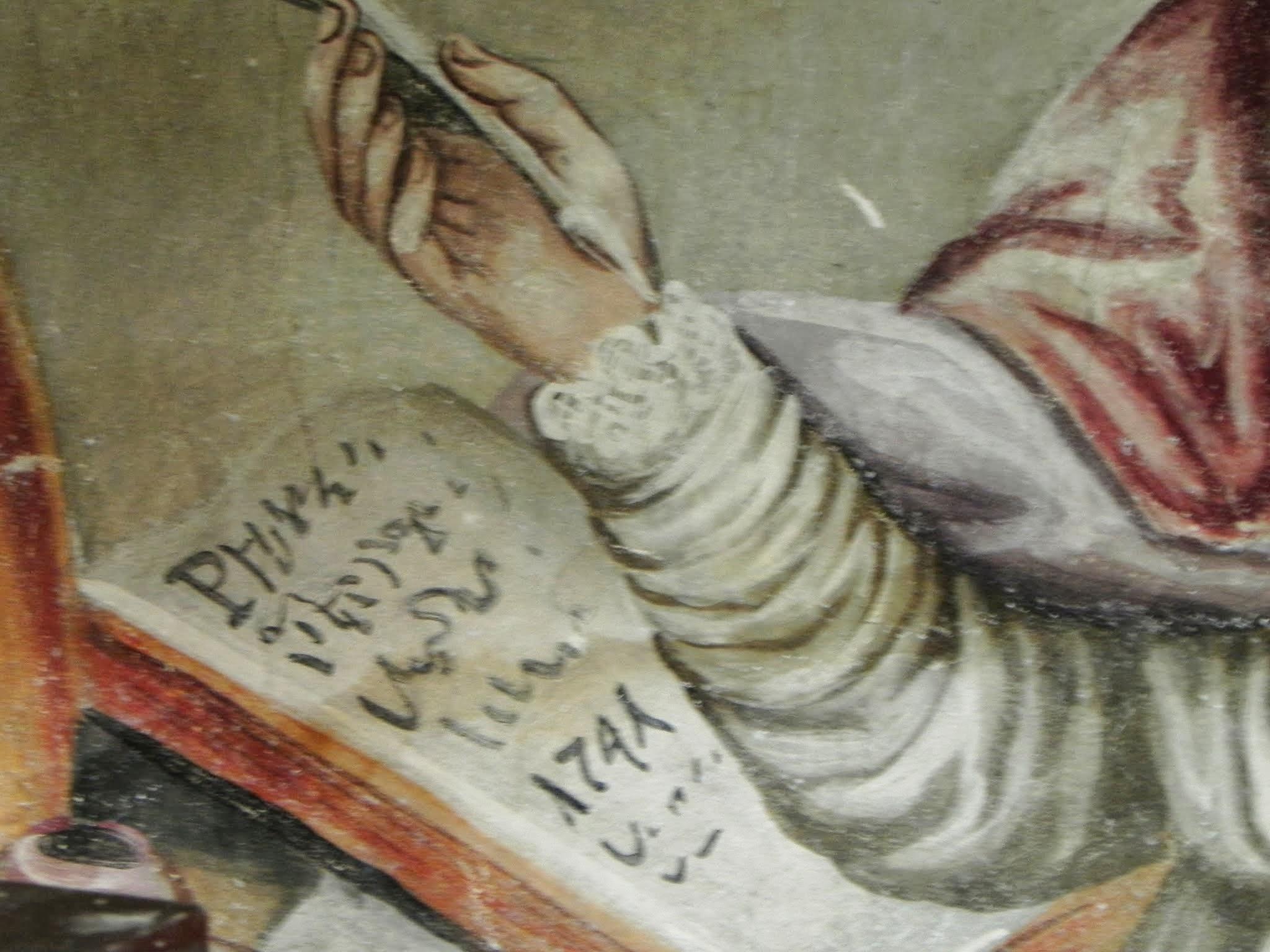 św. Augustyn - fresk w trakcie prac renowacyjnych (po oczyszczeniu). W księdze data konsekracji kościoła