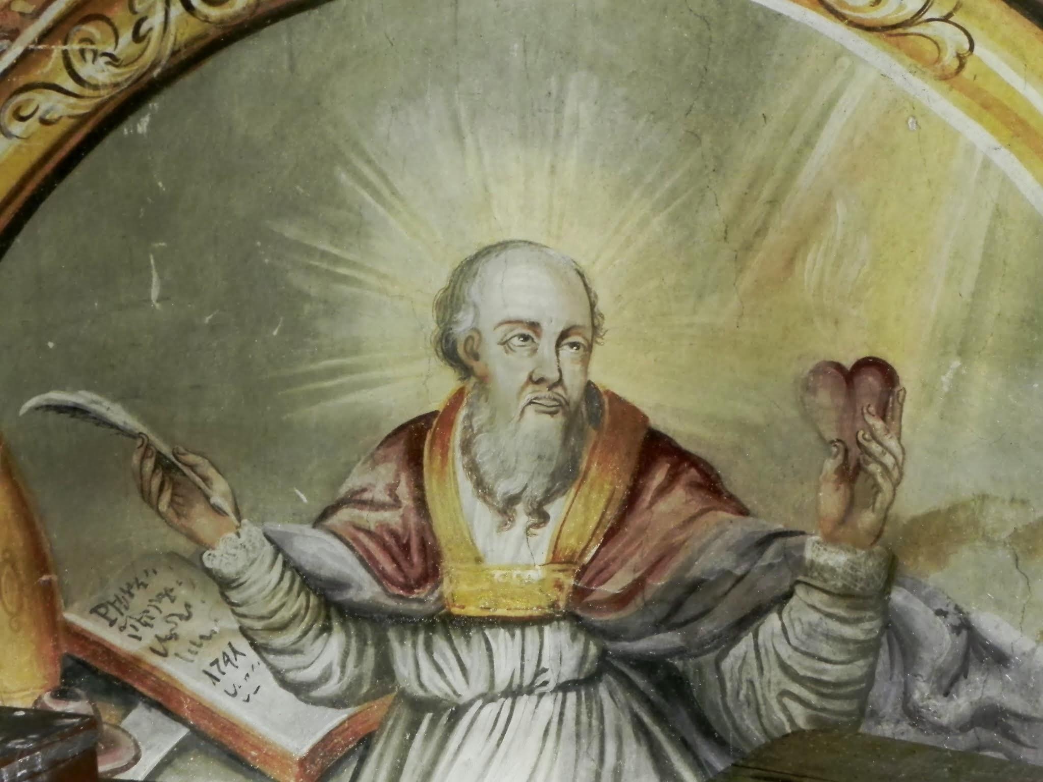 św. Augustyn - fresk w trakcie prac renowacyjnych (po oczyszczeniu)