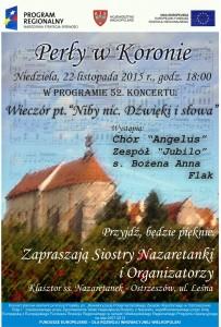 Plakat- zaproszenie na 52 Koncert Perły w Koronie