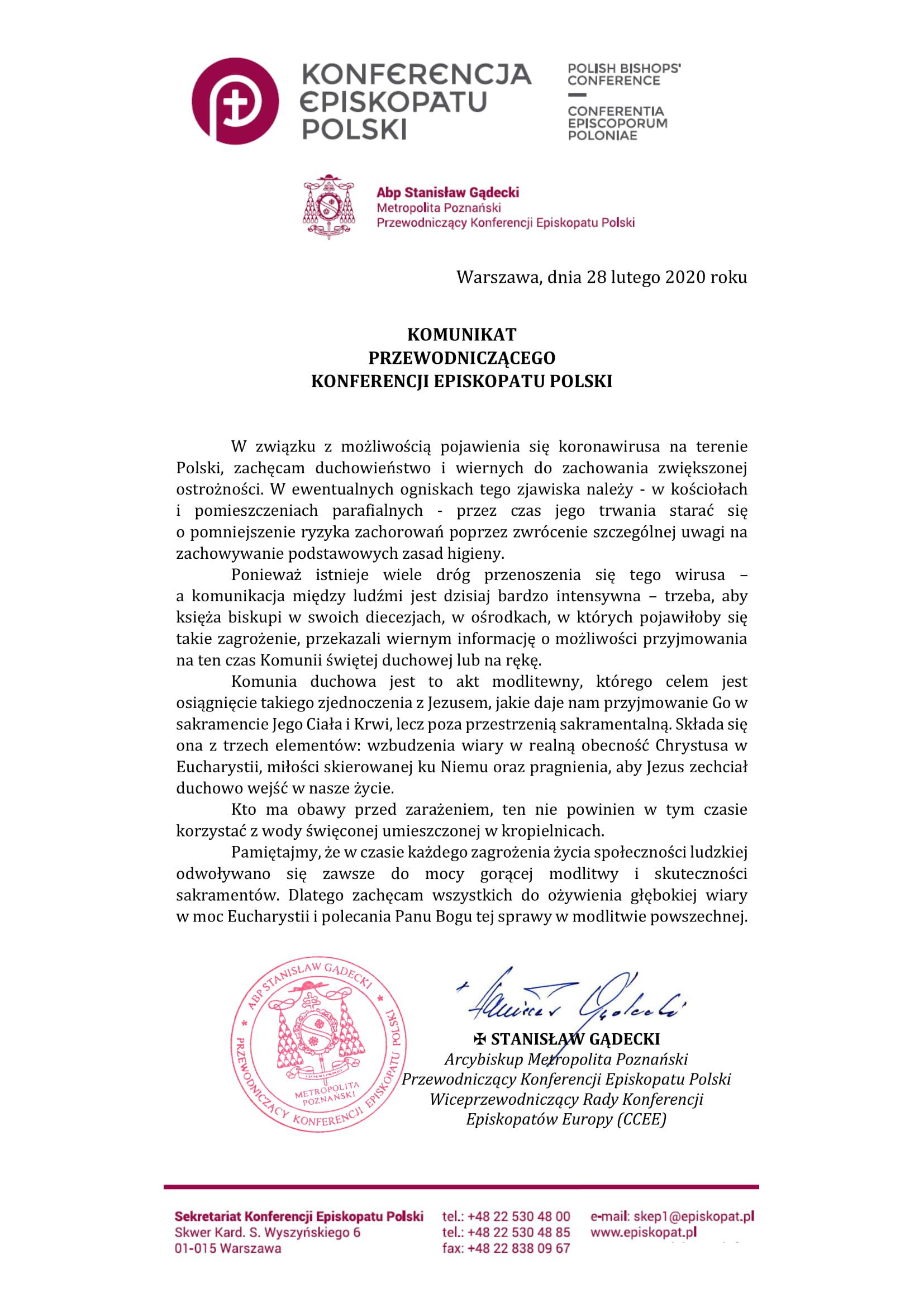 KOMUNIKAT Przewodniczacego Konferencji Episkopatu Polski-1