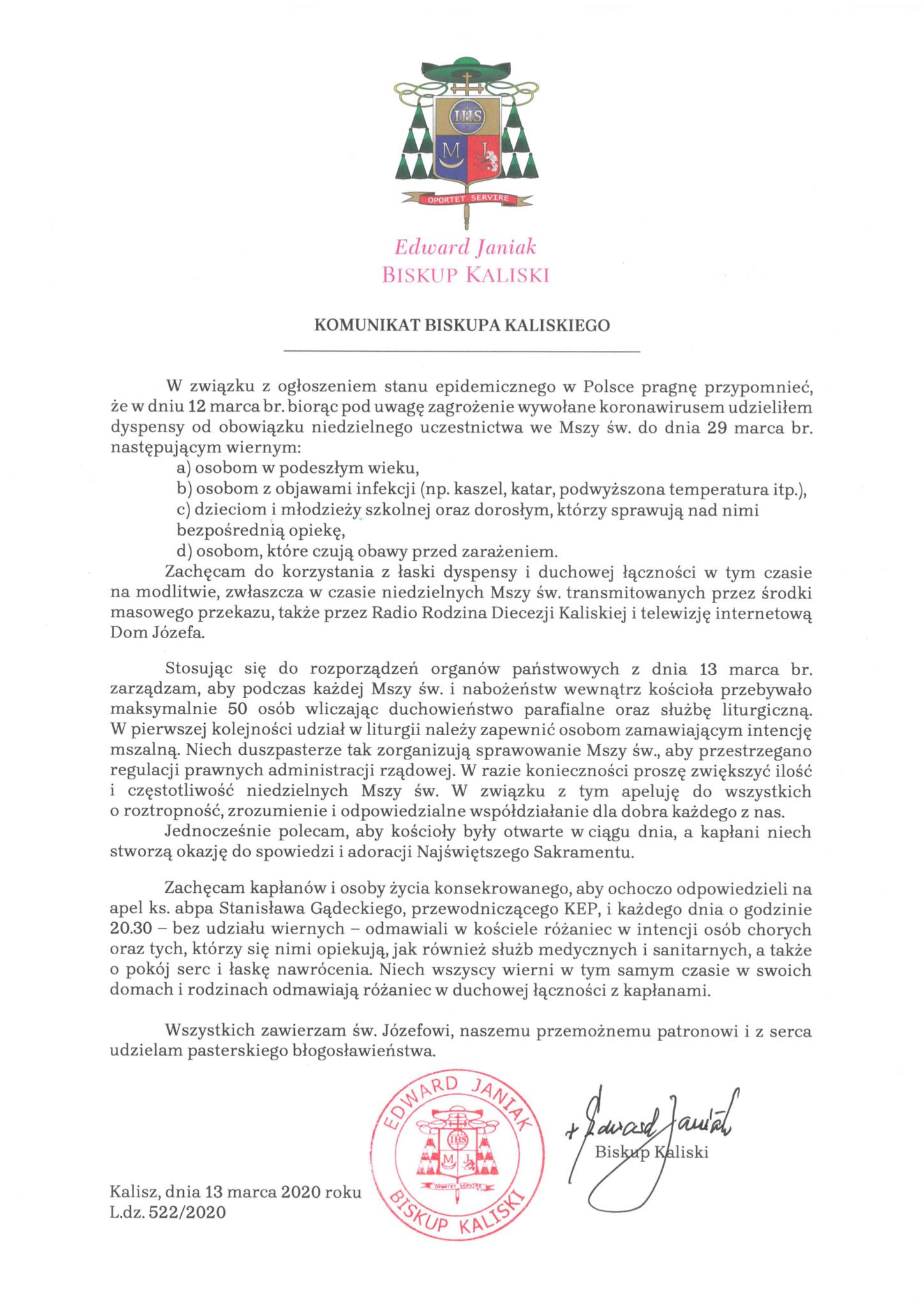 Komunikat Biskupa Kaliskiego z dn 13 marca 2020